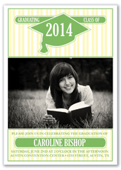 Green Stripes Blank Graduation Announcement