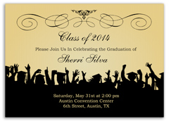 Ribbon Pattern Black Blank Graduation Announcement