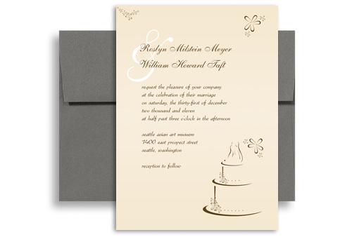 Cream Beige Cake Picture Blank Wedding Invitation 5x7 In Vertical