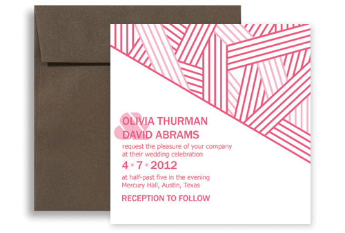 pink white contemporary blank wedding invitation 5x5 in