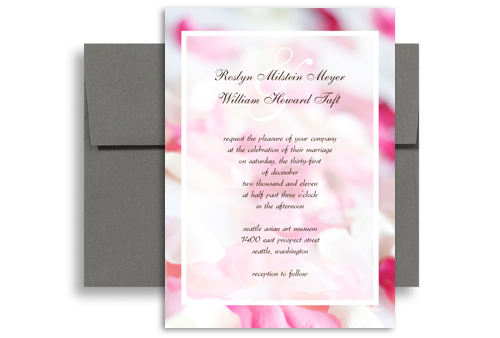 Pink White Rose Background Blank Wedding Invitation 5x7 In