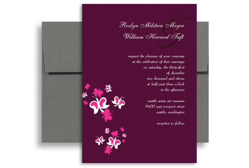 Purple Erfly Orchid Blank Wedding Invitation 5x7 In Vertical
