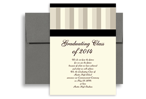 2015 Stripes Pattern Background Graduation Announcement Design 5x7 in ...