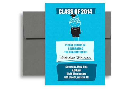 2018 elementary 5th grade graduation announcement sample 5x7 in vertical - 6th Grade Graduation Certificate Template