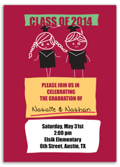 Twin Boy Girl Graduation Invite