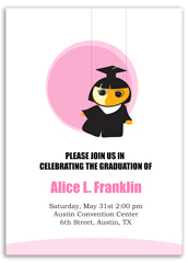 Girl Cap Gown Graduation Party Invitation