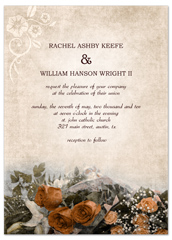 Diy Red Vintage Roses Microsoft Wedding Invite