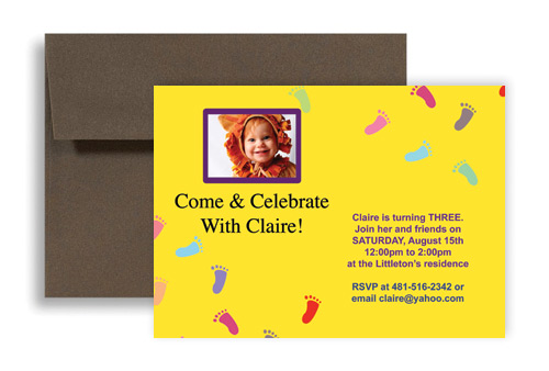 Baby Footprint Printable Microsoft Word Birthday Invitation X In - Birthday invitation in word
