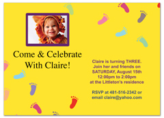 Baby Footprint Printable Microsoft Word Birthday Invitation