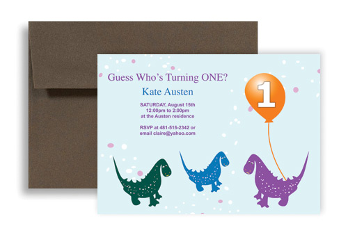 One Year Old Dinosaur Microsoft Word Birthday Invitation 7x5 In Horizontal