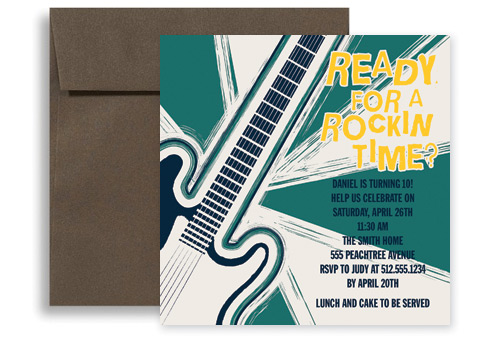 Rock And Roll Music Microsoft Word Birthday Invitation 5x5 In. Square  Microsoft Word Birthday Invitation Templates