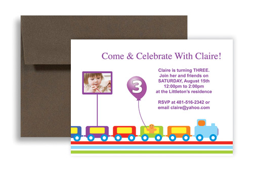 Running Train Balloon Microsoft Word Birthday Invitation 7x5 In Horizontal
