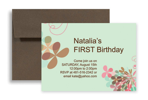 Unique Design For 1st Microsoft Word Birthday Invitation 7x5 in. Horizontal