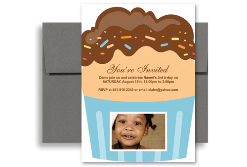 3 Year Old Cupcakes Personalized Birthday Invitation 5x7 In Vertical