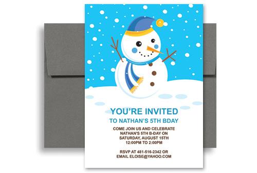 Kids Snowman Cartoon Personalized Birthday Invitation 5x7 in – Snowman Birthday Invitations