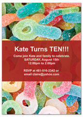 Movie Candy Party Theme Personalized Birthday Invitation