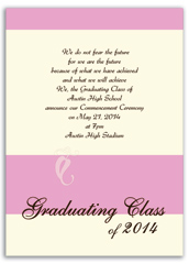 Customizable Pink Cream Personalized Graduation Invitation