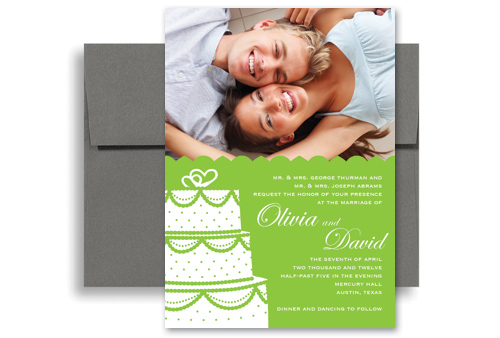 green white photos personalized wedding invitation 5x7 in, Wedding invitations