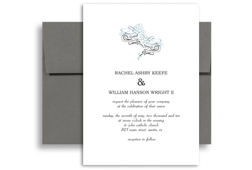 Print Do It Yourself Personalized Wedding Invitation 5x7 in. Vertical