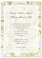 Snow White Roses Photo Personalized Wedding Invitation