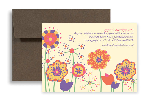 colorful wild flowers printable birthday invitation 7x5 in, Wedding invitations
