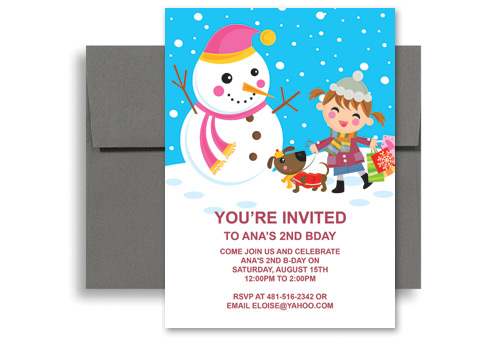 Girl Snowman Dog Ski Printable Birthday Invitation 5x7 in. Vertical