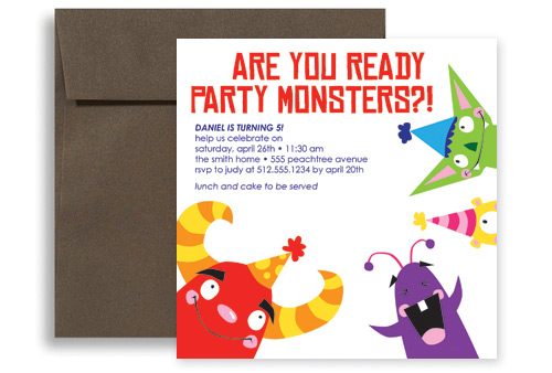 Kids Party Monster Printable Birthday Invitation 5x5 In Square