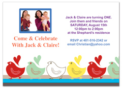 Twins Photos First Printable Birthday Invitation