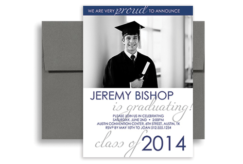 2017 Blue White Photo Printable Graduation Announcement 5x7 in – Printable Graduation Invitation Templates