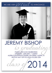 Blue White Photo Printable Graduation Announcement