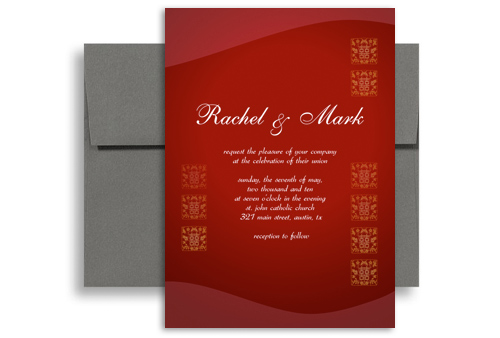 Deep Red Chinese Letter Printable Wedding Invitation 5x7 in – Chinese English Wedding Invitations