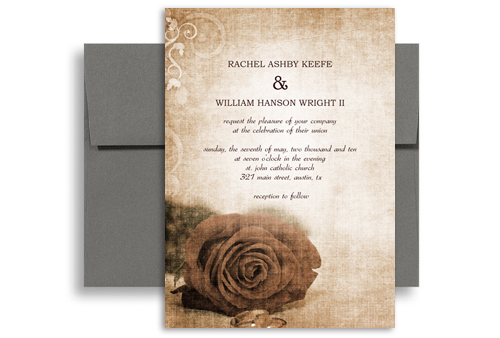 Vintage Rose Background Printable Wedding Invitation 5x7 In Vertical