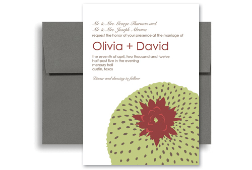 Green White Design Wedding Announcement Samples 5x7 in Vertical