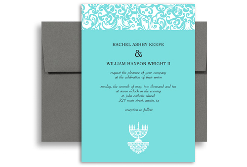 Jewish candelabrum menorah wedding announcement samples 5x7 in jewish candelabrum menorah wedding announcement samples 5x7 in vertical stopboris