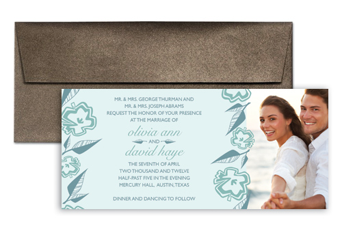 Baby Blue Template Wedding Invitation Design 9x4 In Horizontal Wi