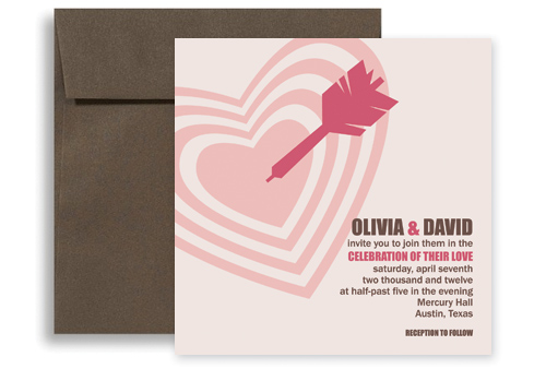 Wedding Invitation Template WI1139 Brown Pink Unique Arrow Wedding