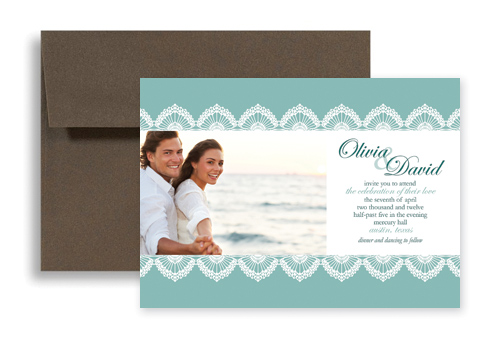 Attractive Custom Photos Templates Wedding Invitation Design 7x5 In. Horizontal