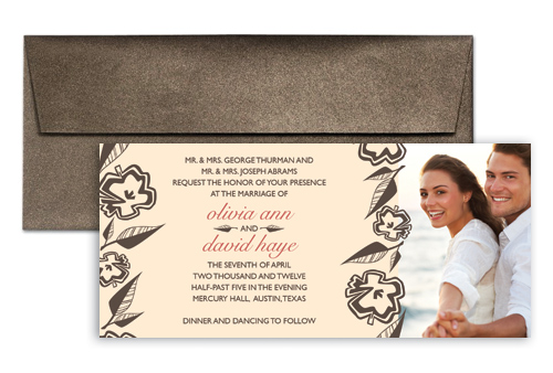 Beige White Photo Wedding Invitation Example 9x4 In. Horizontal