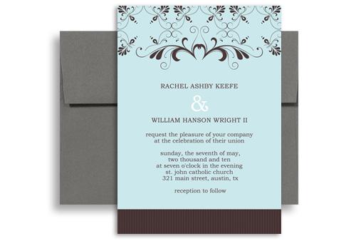 Blue diy layout format wedding invitation example 5x7 in for Wedding invitations layout examples