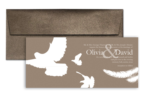 Brown White Doves Wedding Invitation Example 9x4 in Horizontal