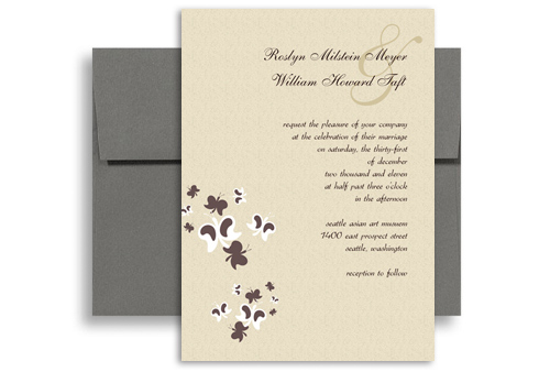 Brown Cream Butterflies Wedding Invitation Ideas 5x7 in Vertical