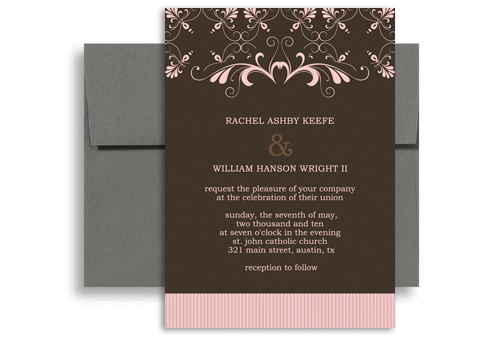brown pink border indian wedding invitation ideas 5x7 in
