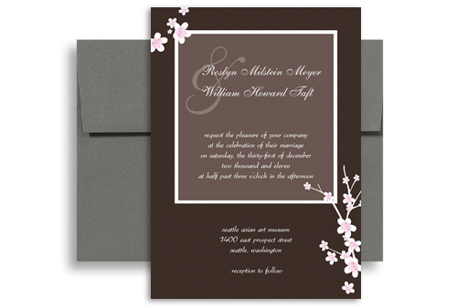 Homemade Diy Brown Color Wedding Invitation Ideas 5x7 in Vertical