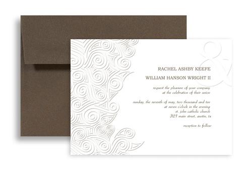 Snow Winter White Theme Wedding Invitation Ideas 7x5 In Horizontal