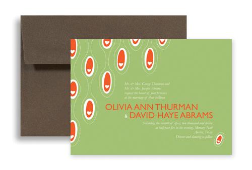 Green Modern Heart Design Wedding Invitation Templates 7x5 in Horizontal