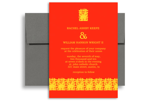 Traditional Chinese Style Wedding Invitation Templates 5x7 In Vertical