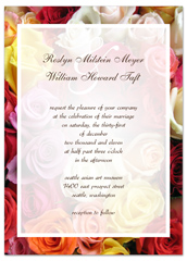 Yellow Pink White Red Roses Wedding Invitation Templates