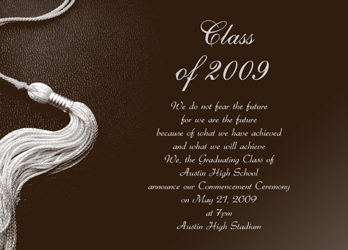 Blank Graduation Announcements