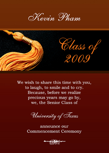 8th grade graduation invite wording for Senior announcement templates free