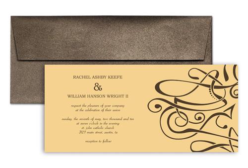 Personalized Swirly Design Blank Wedding Invitation 9x4 In Horizontal